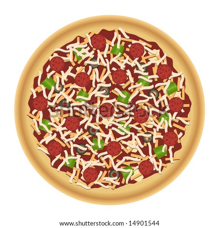 Pizza with pepperoni, cheeses, green peppers, black olives, and golden crust. Flat overhead view.