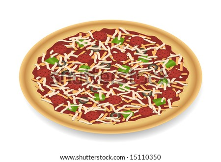 Pizza with toppings perspective view on white with small shadow has pepperoni, cheese, green peppers, and black olives with golden crust. - stock vector