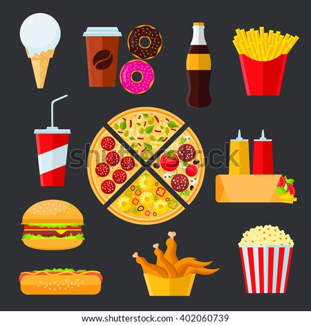 Pizza with vegetarian and meat toppings, surrounded byhamburger and hot dog, french fries and soda drink, coffee, fried chicken, popcorn and donuts, ice cream cone, tortilla with ketchup and mustard