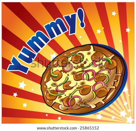 pizza zoom out - stock vector