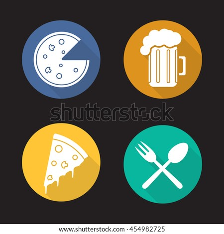Pizzeria flat design long shadow icons set. Pizza slice, foamy beer glass, fork and spoon eatery symbol. Bar. Vector silhouette symbols - stock vector