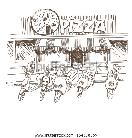 Pizzeria hand drawn, vector illustration - stock vector