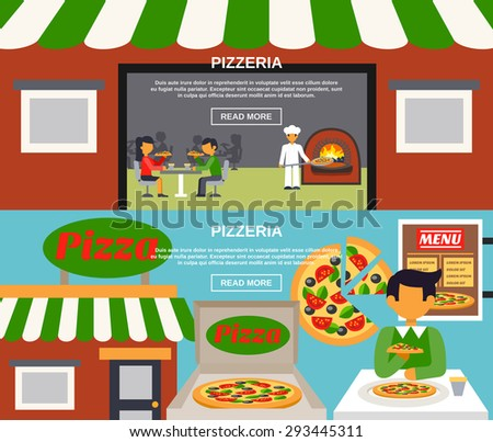 Pizzeria horizontal banners set with meal in a cafe and pizza making flat isolated vector illustration  - stock vector