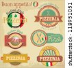 Pizzeria label design set - stock vector