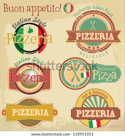 Pizzeria label design set - stock vector