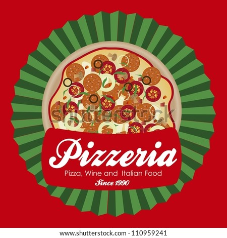 pizzeria label illustrations, with pizza, vector illustration - stock vector