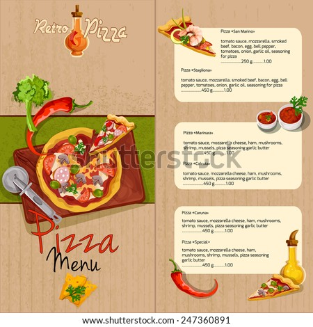 Pizzeria pizza restaurant menu template with ingredients oil and seasoning vector illustration. - stock vector