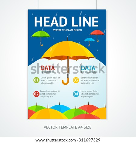 Placard Poster Template with Umbrellas. A Symbol of Protection.  Vector illustration - stock vector