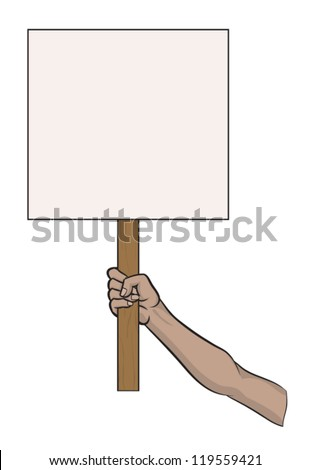 Placard Sign Held in Female hand