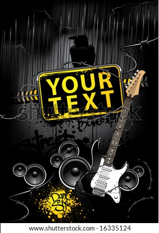 Placard with banner, speakers and guitar in dark underground street style - stock vector