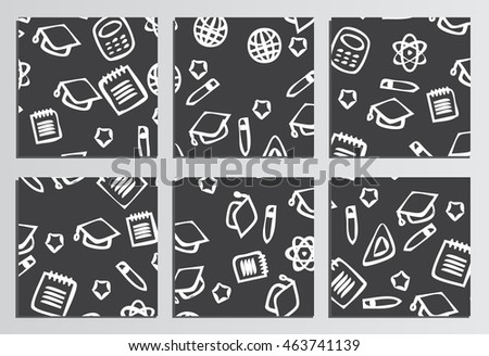 Placards, Posters. Back to school background. Branding template with back to school pattern