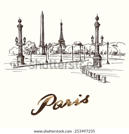 Place de la Concorde Paris - hand drawn illustration - stock vector