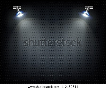 Place for exhibit. Metal grill. - stock vector
