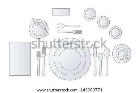 Place Setting Diagram for a formal dinner. Vector illustration.