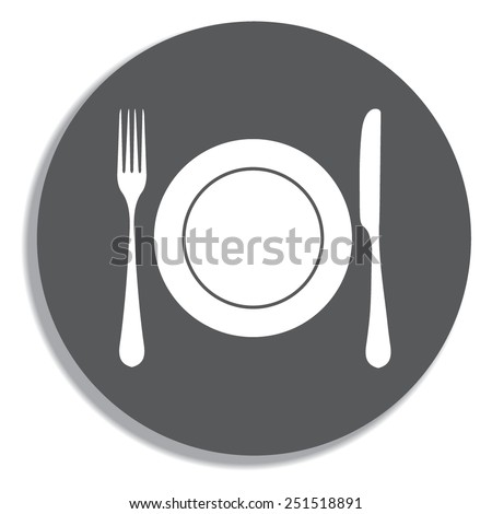Place setting with plate, knife and fork on a grey background - stock vector