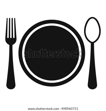 Place setting with plate,spoon and fork icon. Simple illustration of plate,spoon and fork vector icon for web
