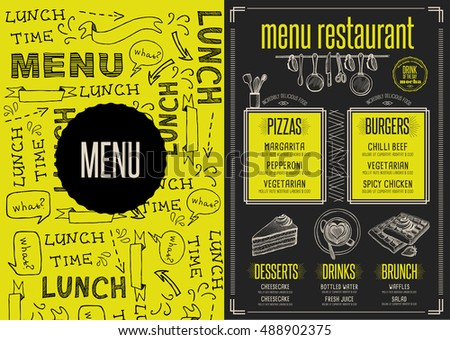Placemat menu restaurant food brochure, cafe template design. Creative vintage brunch flyer with hand-drawn graphic.