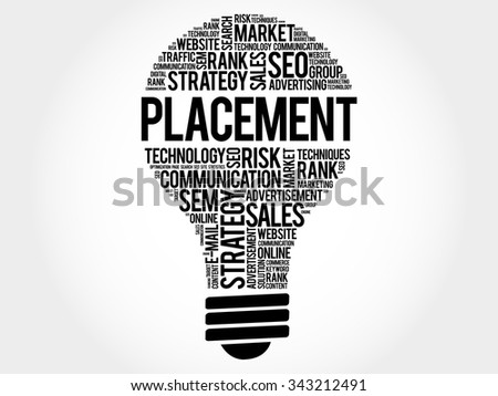 PLACEMENT bulb word cloud, business concept - stock vector