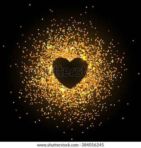 Placer gold bright sparkles glittering confetti in the shape of a heart on a dark background for Valentines Day - stock vector