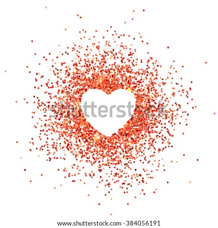 Placer red bright sparkles glittering confetti in the shape of a heart on a white background for Valentines Day - stock vector
