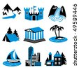 places for tourism and relaxation. A set of vector icons in two colors - stock vector