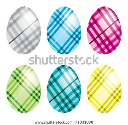 Plaid Easter Eggs - stock vector
