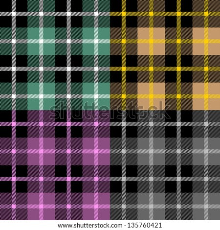 Plaid fabric samples in vector - stock vector