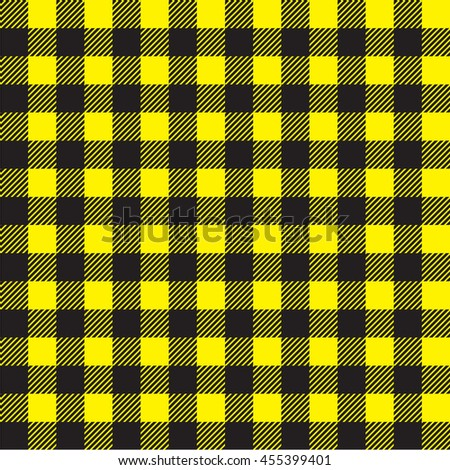 Charming Plaid Kitchen Tablecloth Pattern With Vintage Yellow Black (bee) Color.  Seamless Pastel