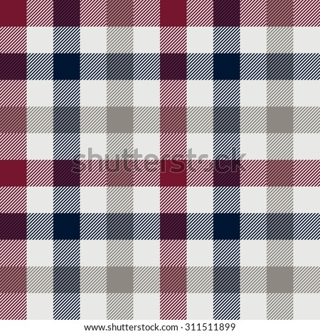 Plaid seamless pattern. Red, blue, gray and white color. - stock vector