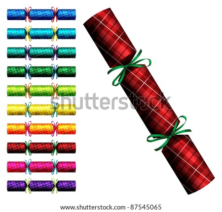 Plaid/Tartan Christmas crackers in a variety of colours on a white background in vector format. - stock vector