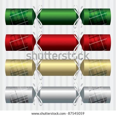 Plaid/Tartan Christmas crackers in vector format. - stock vector