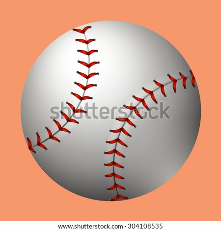 Plain baseball on orange background illustration