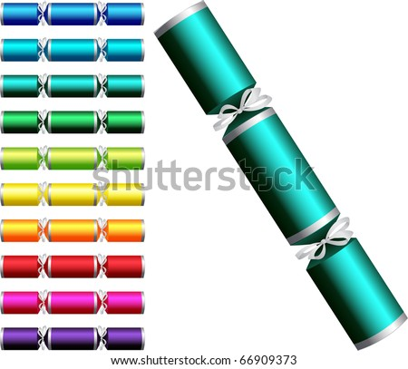 Plain Christmas crackers in a variety of colours on a white background. - stock vector
