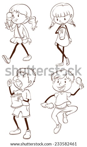 Plain drawings of kids eating on a white background  - stock vector