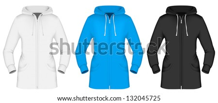 Plain hooded jacket template. - stock vector