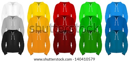 Plain long sleeve hooded sweatshirt template. - stock vector