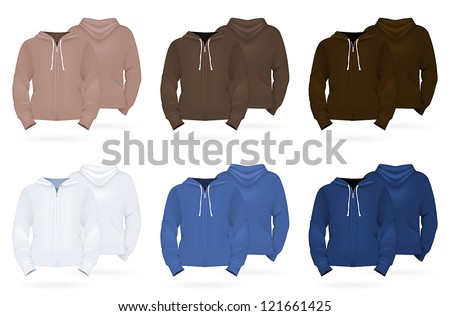 Plain long sleeve hoodie template - stock vector