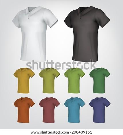 Plain male polo shirt templates - stock vector