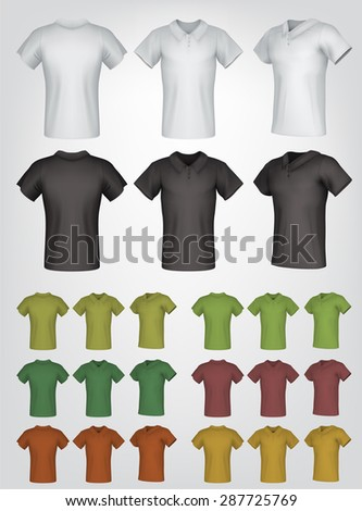 Plain male polo shirt templates. Isolated background. Back, front, side views. - stock vector
