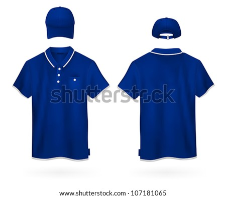 Plain polo shirt and a baseball hat template. - stock vector