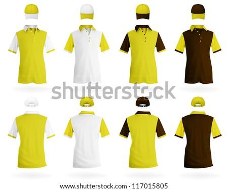 Plain polo shirt template - stock vector