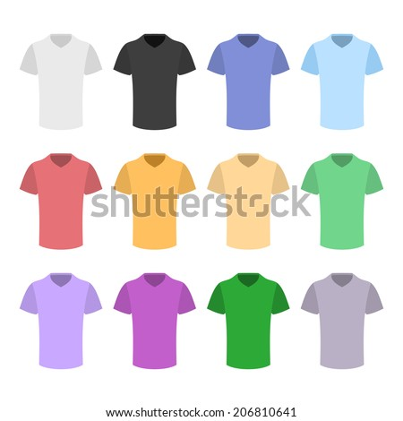 Plain T-shirt Color Template Set in Flat Design Style. Vector illustration