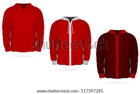 Plain training hooded sweatshirt template. - stock vector
