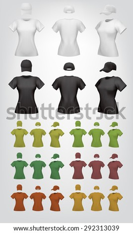 Plain women's t-shirt template.Isolated background. Back, front, side views.