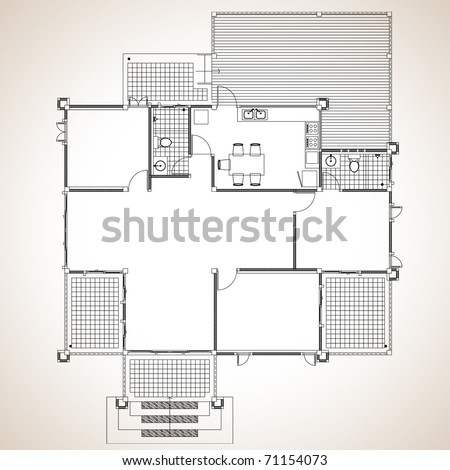 Plan a one-story residence contemporary style - stock vector