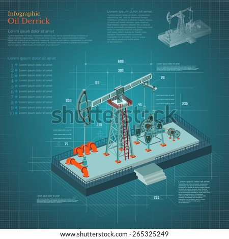 plan-drawing oil derrick tower infographic on blue scheme paper - stock vector