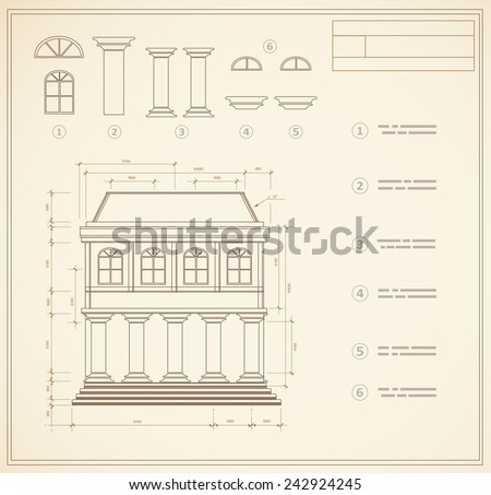 Plan facility and engineering print out home - stock vector