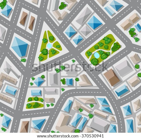 Plan for the big city with streets, roofs, cars. City in plan view. - stock vector