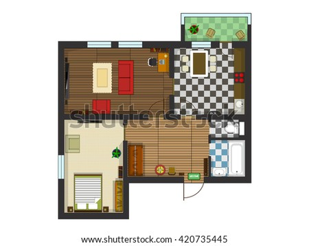 Architectural plan layout apartment furniture drawing for Kitchen plan view