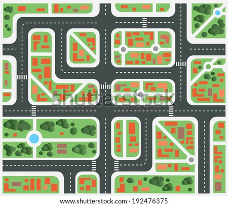 Plan of the city with streets and houses - stock vector